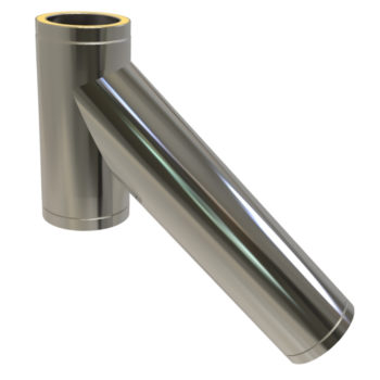 TWPro 125mm Twin Wall Insulated Long 135 Degree Tee Stainless Steel