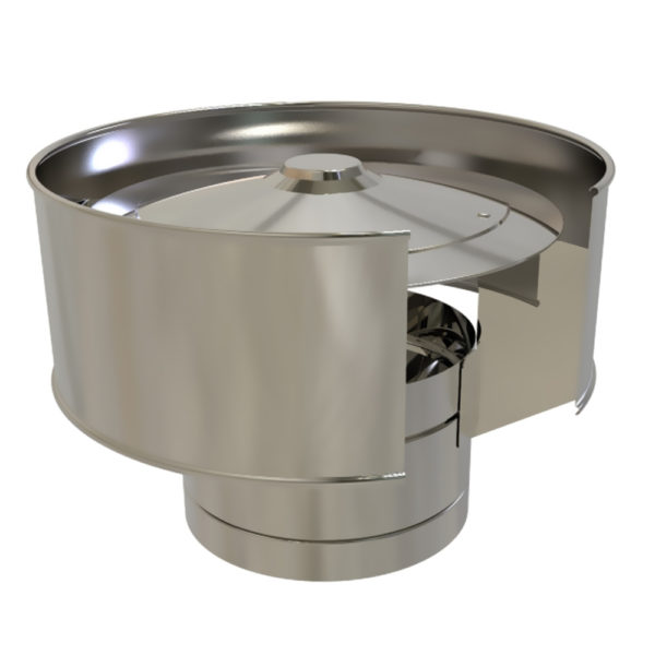 TWPro 125mm Twin Wall Insulated Anti-Wind Cowl Stainless Steel
