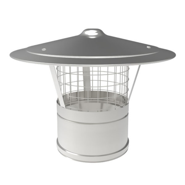 TWPro 125mm Twin Wall Insulated Rain Cap With Mesh Stainless Steel
