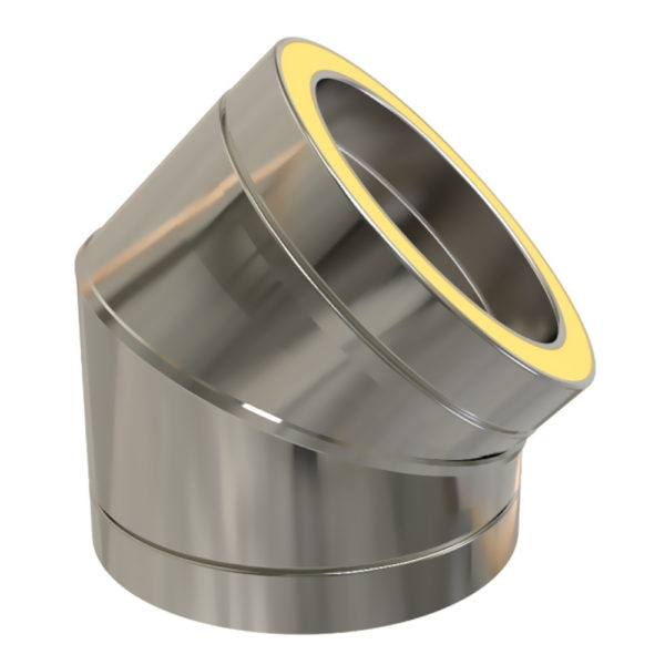 TWPro 150mm Twin Wall Insulated 45 Degree Bend Stainless Steel