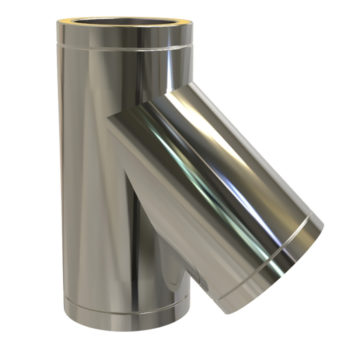 TWPro 150mm Twin Wall Insulated 135 Degree Tee Stainless Steel