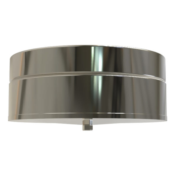 TWPro 150mm Twin Wall Insulated Tee Cap With Drain Stainless Steel