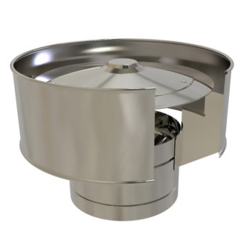 TWPro 150mm Twin Wall Insulated Anti-Wind Cowl Stainless Steel