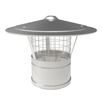 TWPro 150mm Twin Wall Insulated Rain Cap With Mesh Stainless Steel