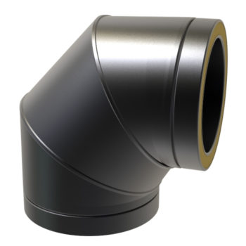 TWPro 150mm Twin Wall Insulated 90 Degree Bend Black