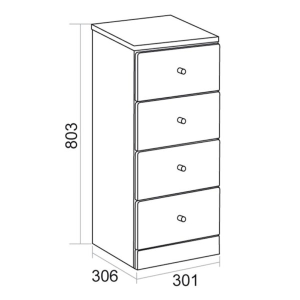 Elation Ikoma 300mm 4 Drawer Unit Gloss White