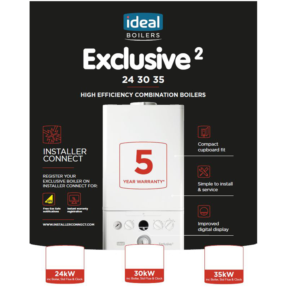 Ideal Exclusive2 Combination Boiler 35kw Snh 163 550 Plus Vat