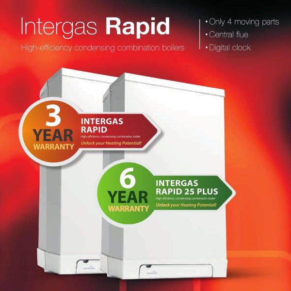 Intergas Rapid Plus 25KW Combi With Flue and Clock