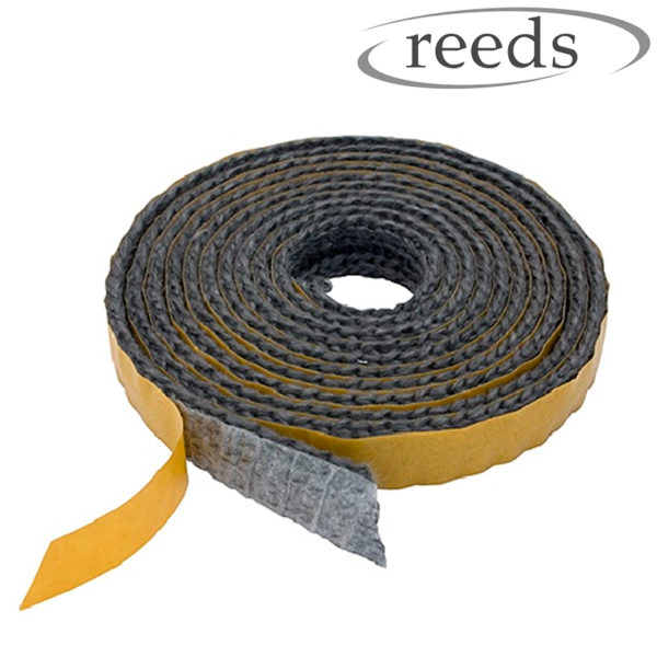 Flat Stove Rope Self Adhesive Black Glass Seal Stove Fire Rope 10mm Wide Reeds