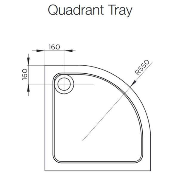 1000 Quadrant Low Profile Shower Tray KT35