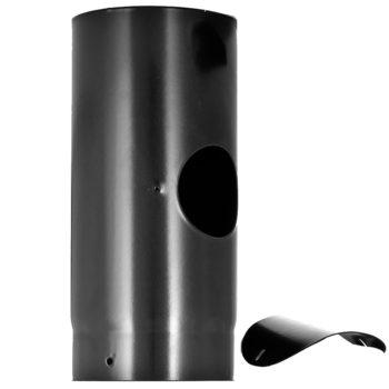 125mm Flue Pipe with Door Vitreous Enamel 330mm Long