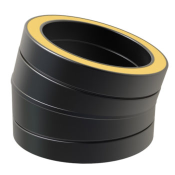 TWPro 150mm Twin Wall Insulated 15 Degree Bend Black
