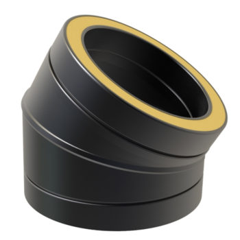 TWPro 150mm Twin Wall Insulated 30 Degree Bend Black