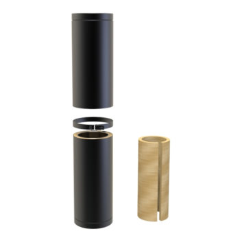 TWPro 150mm Twin Wall Insulated Adjustable Pipe 350-500mm Black