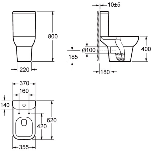Pura Xcite Open Back Toilet With Seat Option