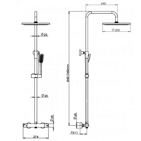 Pura Arco Bar Shower Kit