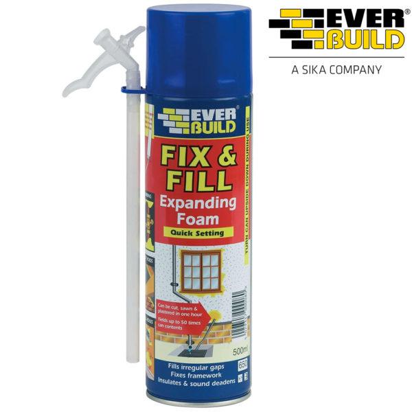 Foam Fill Fix & Foam from everbuild 500ml gap filling nozzle & Gloves included