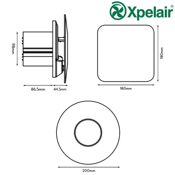 Xpelair Simply Silent Contour 078360 C4HTSR Humidistat/Timer