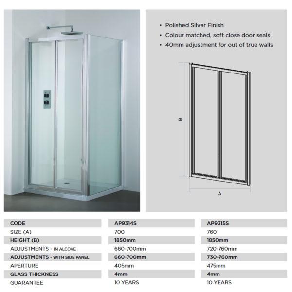 April Destini 1000mm Bifold Door