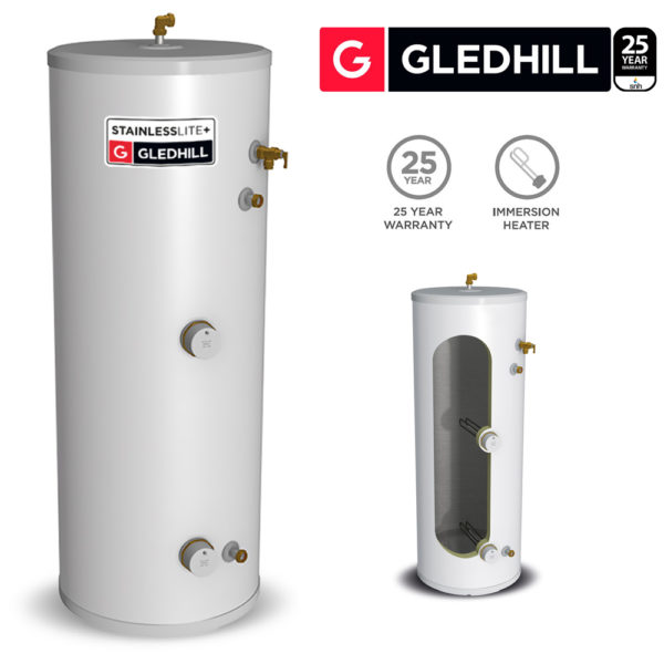 Gledhill Stainless lite Plus D300 Direct Unvented Cylinder Stainless Steel