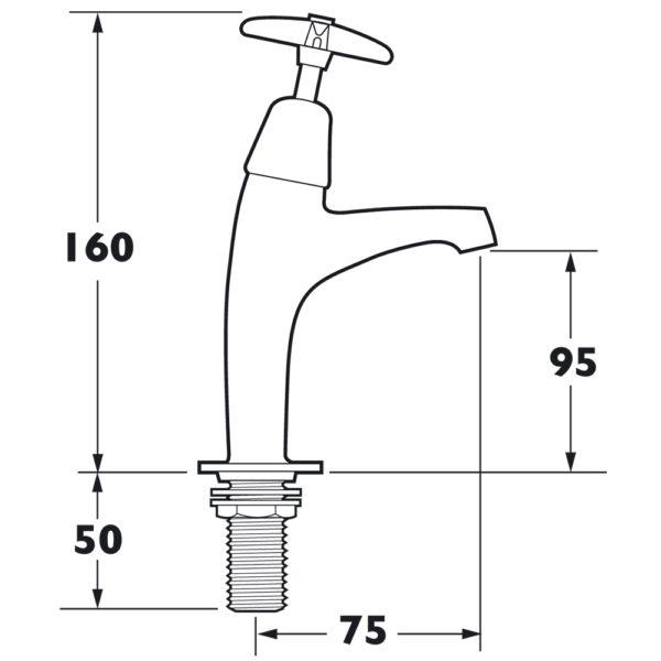 Deva 183X Commercial Cross Handle Sink Taps