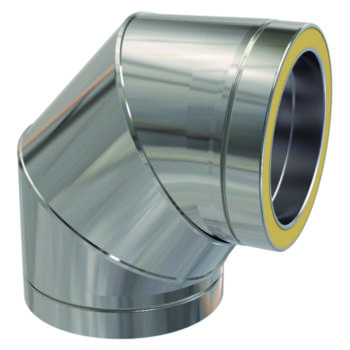 (Dropship) Twin Wall 90 Degree Bend 125mm Stainless Steel