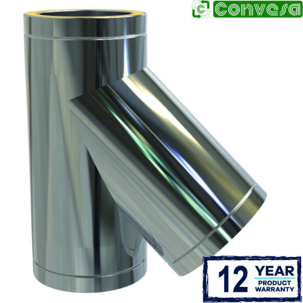 (Dropship) 125mm Twin Wall 135 Degree Tee Stainless Steel