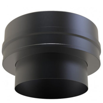 (Dropship) Twin Wall Insulated Flat Adaptor 125mm Black
