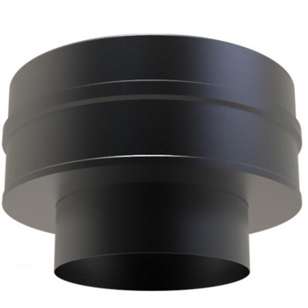 (Dropship) Twin Wall Insulated Flat Increasing Adaptor 125 to 150mm Black