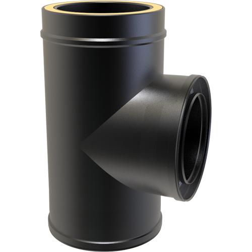(Dropship) Twin Wall 90 Degree Tee 125mm Black