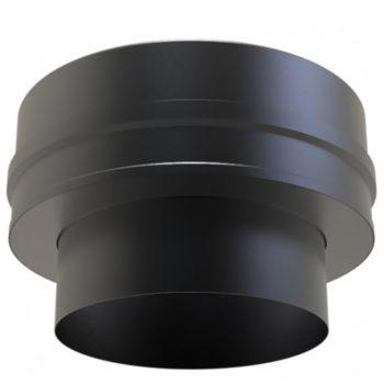 (Dropship) Twin Wall Insulated Flat Adaptor 150mm Black