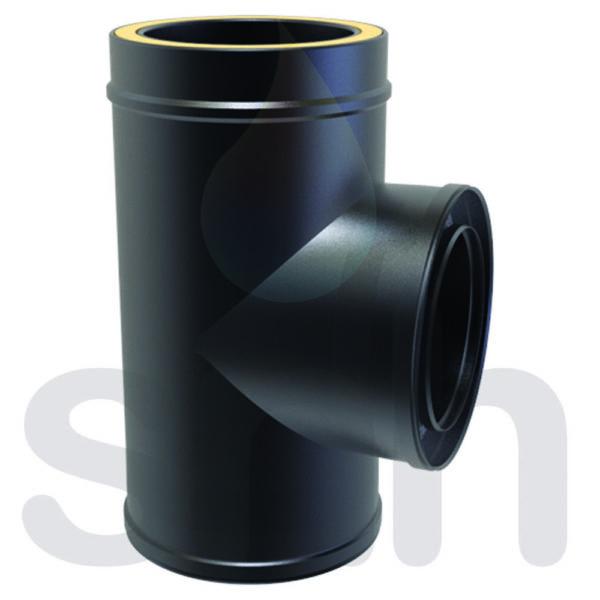 (Dropship) Twin Wall 90 Degree Tee 150mm Black