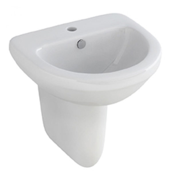 Pura Ivo 56cm Basin 1 Tap Hole C/W Half Pedestal