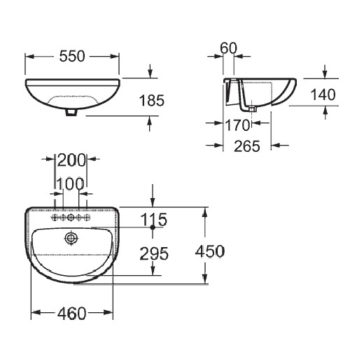 Imex Ivo 50mm Semi Countertop Basin Only 1 Tap Hole